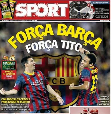 Barcelona vs. Real Madrid 2013-Portada del diario Sport