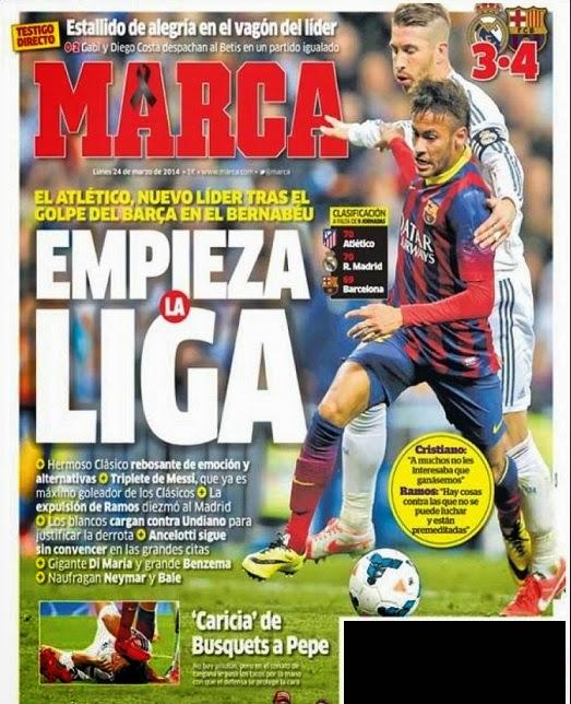 Real Madrid-Barcelona portada 23/03/2014 diario MARCA