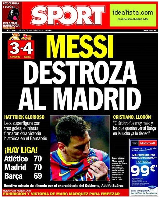 Real Madrid-Barcelona portada 23/03/2014 diario SPORT
