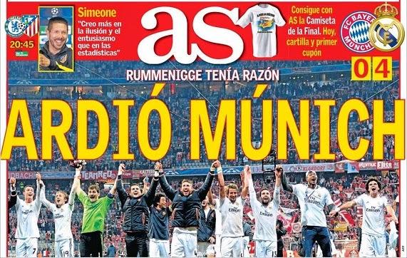 Portada As Bayern Munich 0-Real Madrid 4 champions 2014