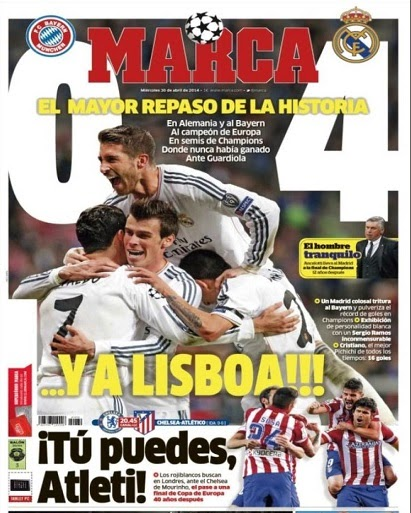 Portada Marca Bayern Munich 0-Real Madrid 4 champions 2014
