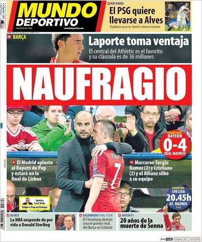 Portada Mundo Deportivo. Bayern Munich 0-Real Madrid 4 champions 2014