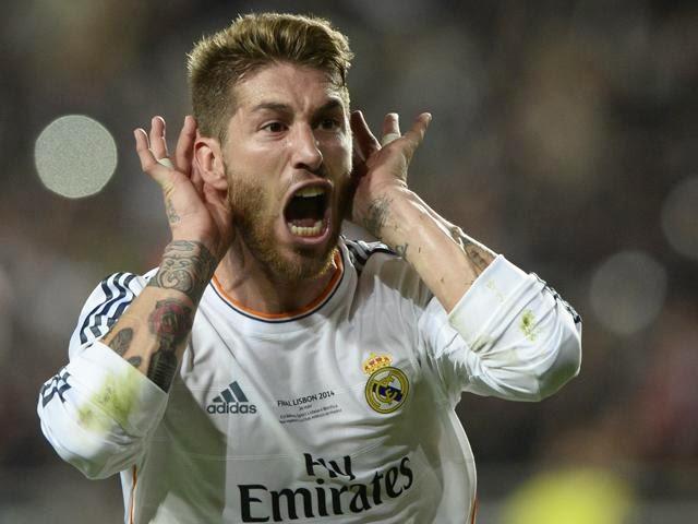 Sergio Ramos festeja su gol en la final de la Champions