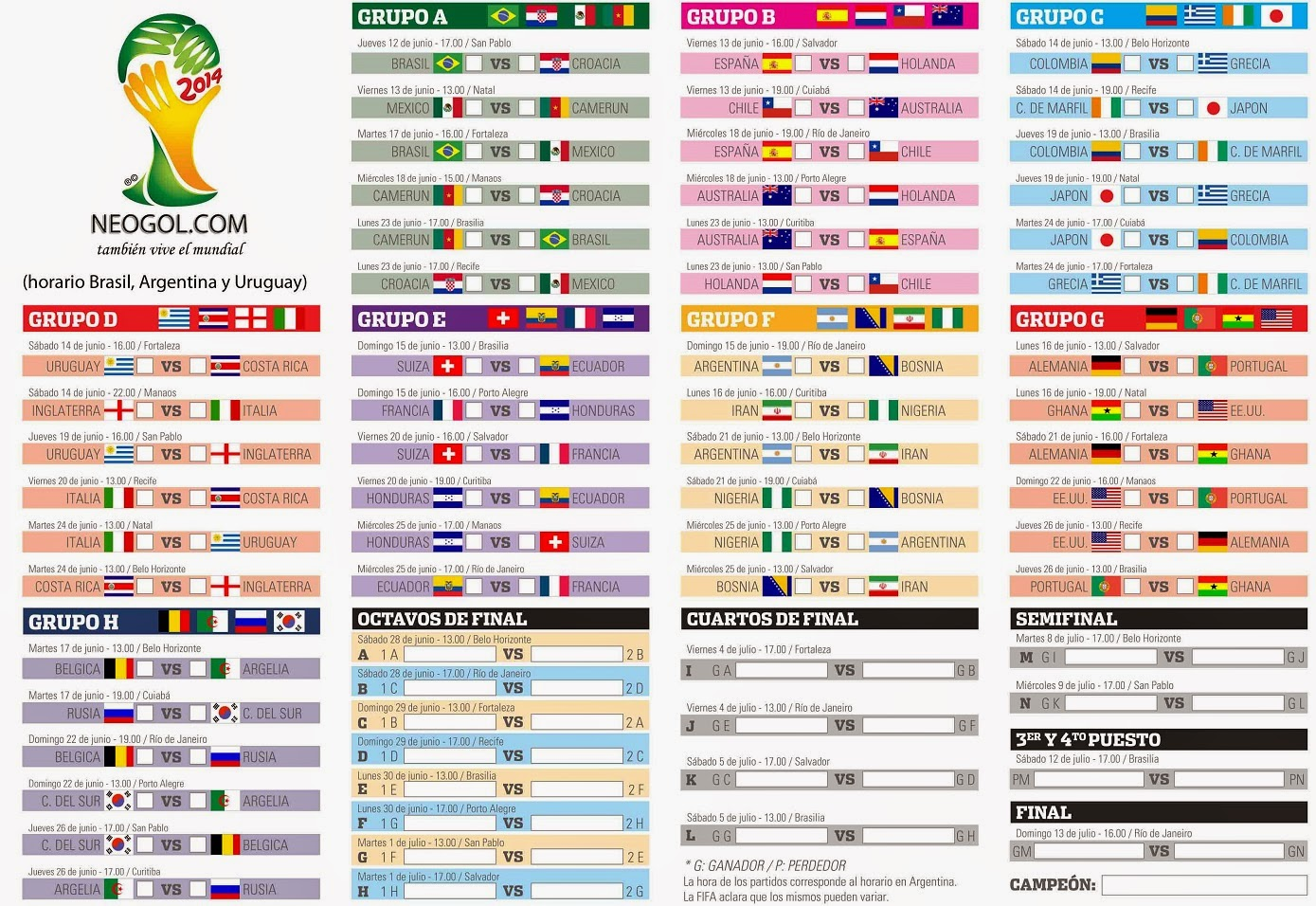 Date match qualification mondial 2014