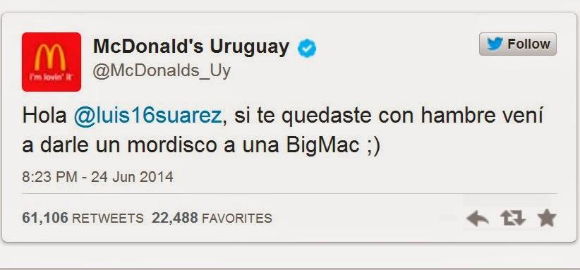 luis suarez muerde chiellini tweet mac donald uruguay italia mundial brasil 2014