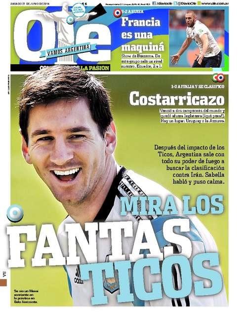 Portada Olé Costarricazo Y FANTASTICOS MUNDIAL BRASIL