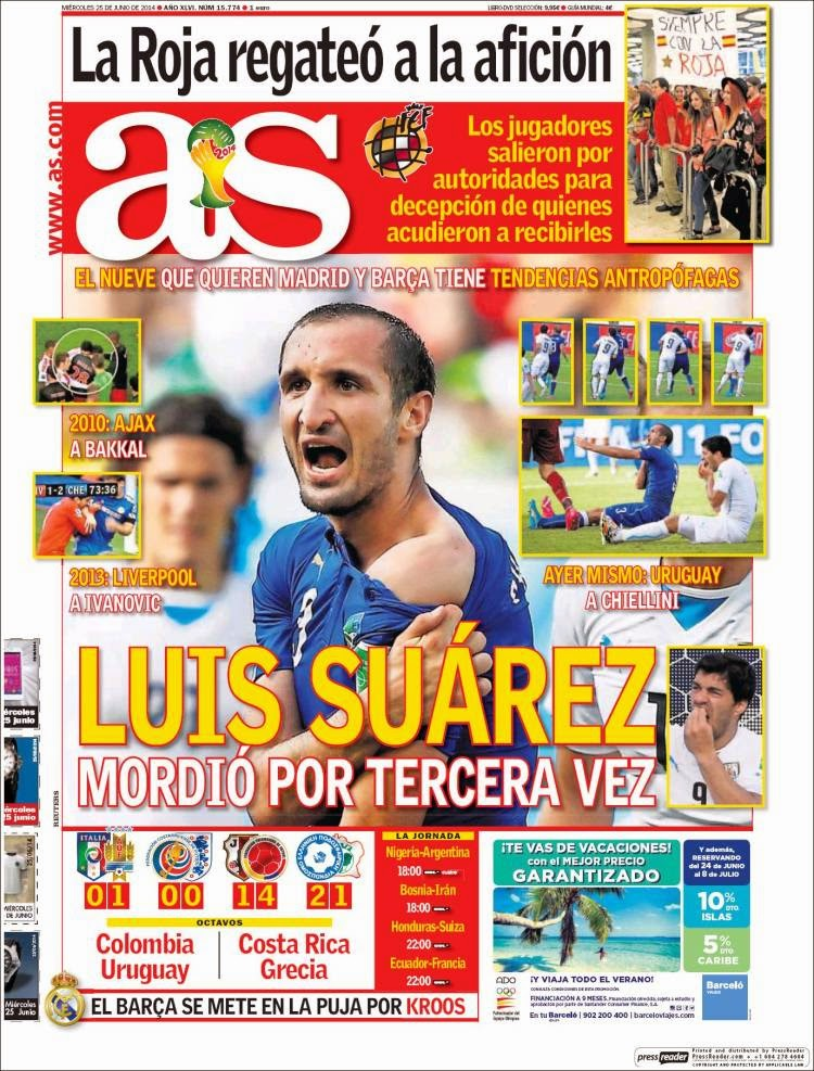 Italia eliminada, Suárez vuelve a morder: Las portadas de la prensa as