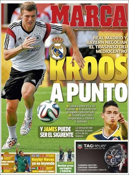 James hincha del Madrid, Holanda y los ticos a cuartos: Las portadas marca kross