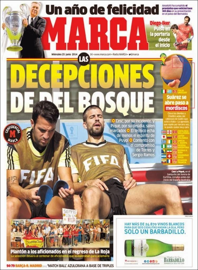 Italia eliminada, Suárez vuelve a morder: Las portadas de la prensa marca
