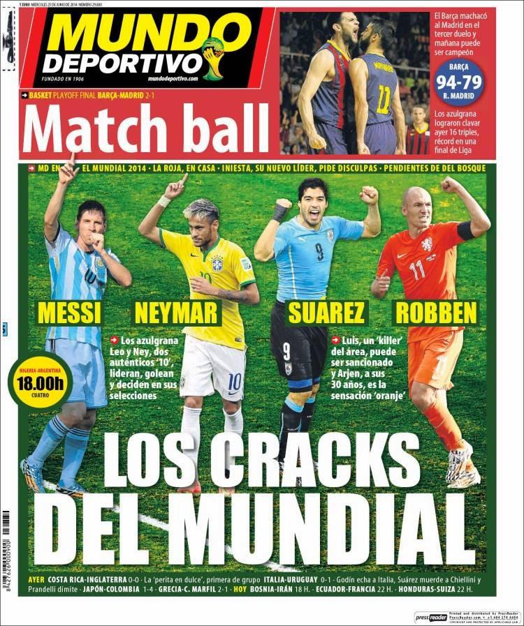 Italia eliminada, Suárez vuelve a morder: Las portadas de la prensa mundo deportivo