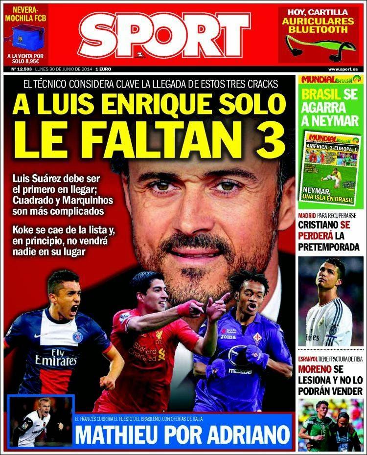 James hincha del Madrid, Holanda y los ticos a cuartos: Las portadas sport fichajes barcelona