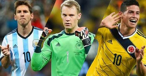 Messi Balón de Oro, Neuer Guante de Oro, James Bota de Oro | Mundial 2014