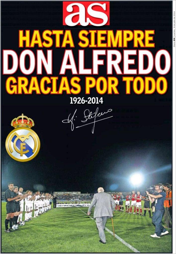 Portada AS: Muere Alfredo Di Stéfano, un mito del fútbol mundial