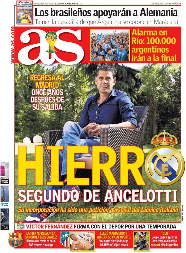 Hierro vuelve Madrid Portada AS
