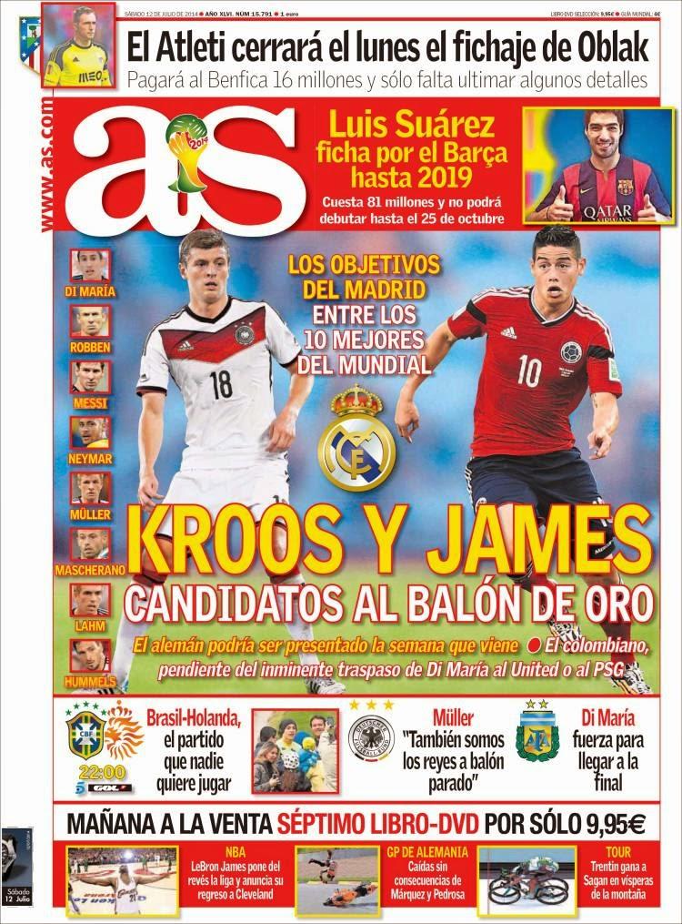 Portada AS: Candidatos Balón de Oro Mundial Brasil