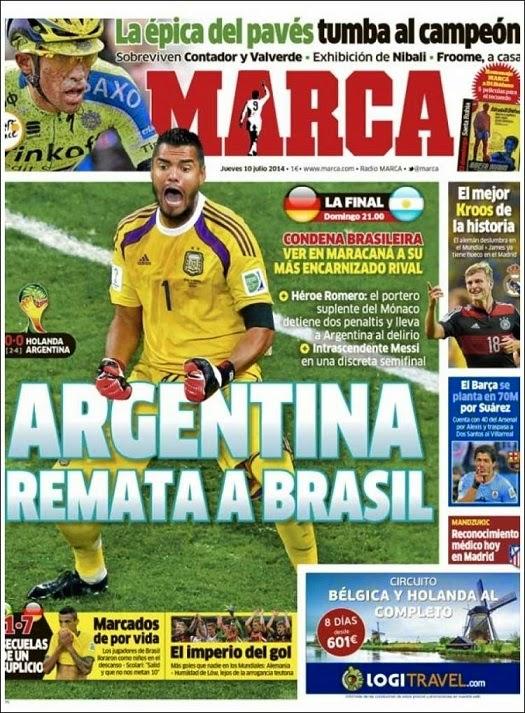 Portada Marca: Argentina finalista Mundial Brasil 2014 tras vencer a Holanda en los penales