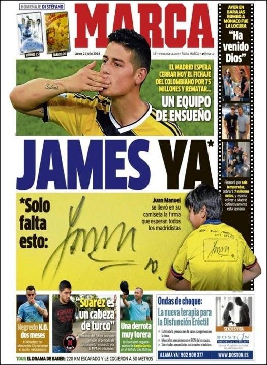 James rodiguez ya es del real madrid las portadas liga for El marca del madrid