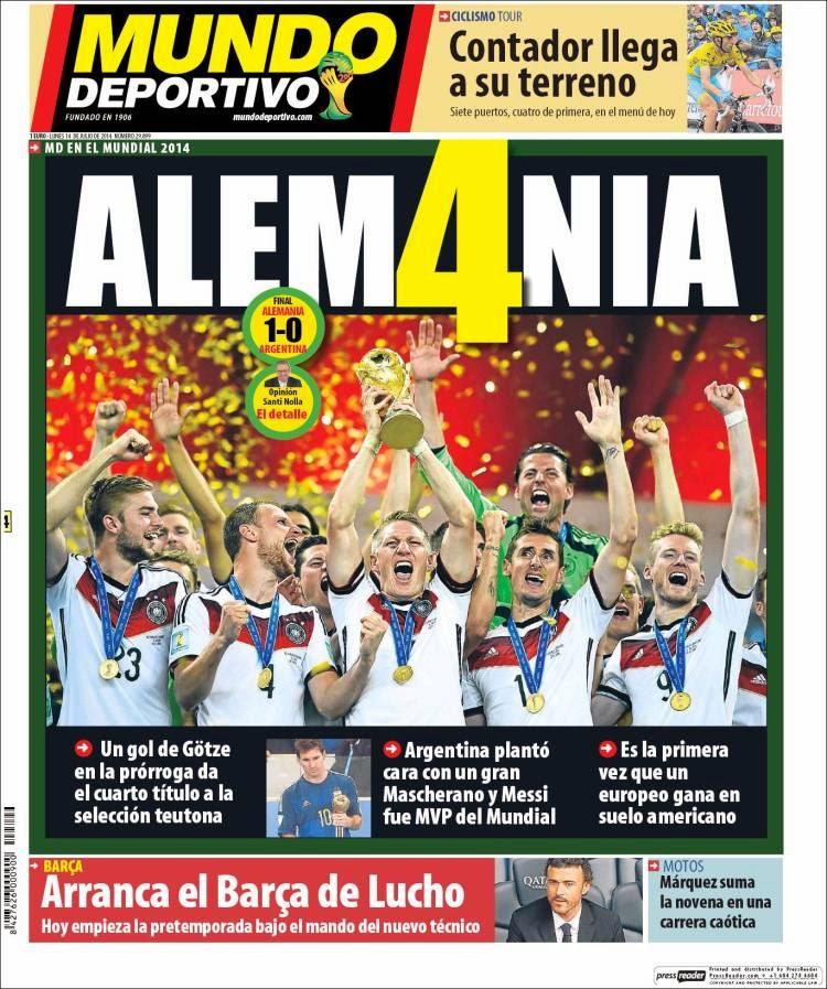 """El diario Marca destaca a la Mannschaft  """"FE Y FÚTBÖL. Alemania conquista  su cuarta estrella ddfccea8aa6f8"""