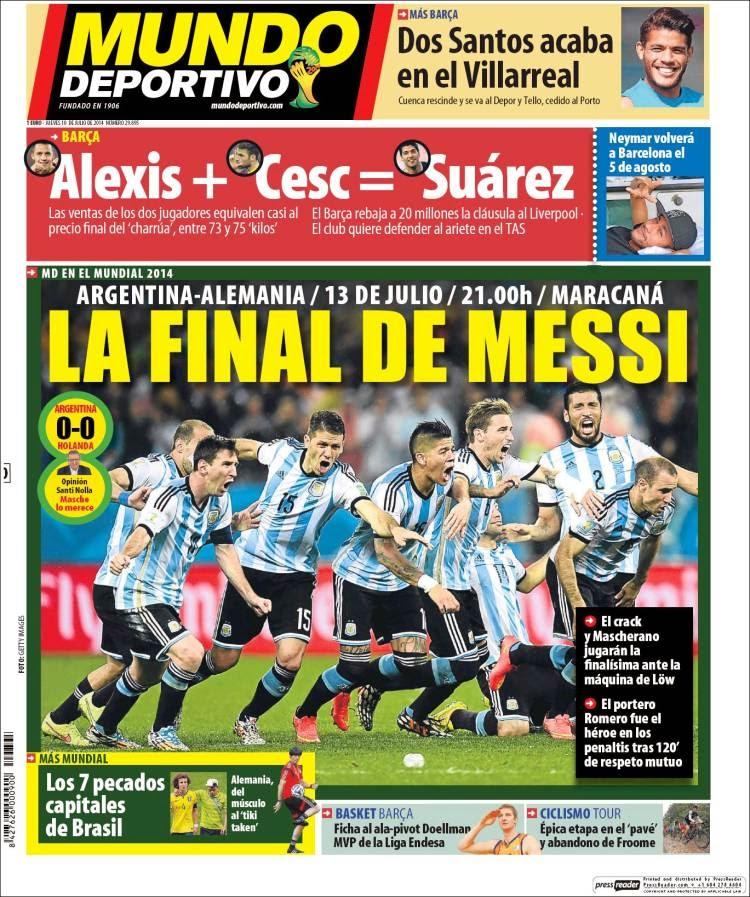 Portada Mundo Deportivo: Argentina finalista Mundial Brasil 2014 tras vencer a Holanda en los penales