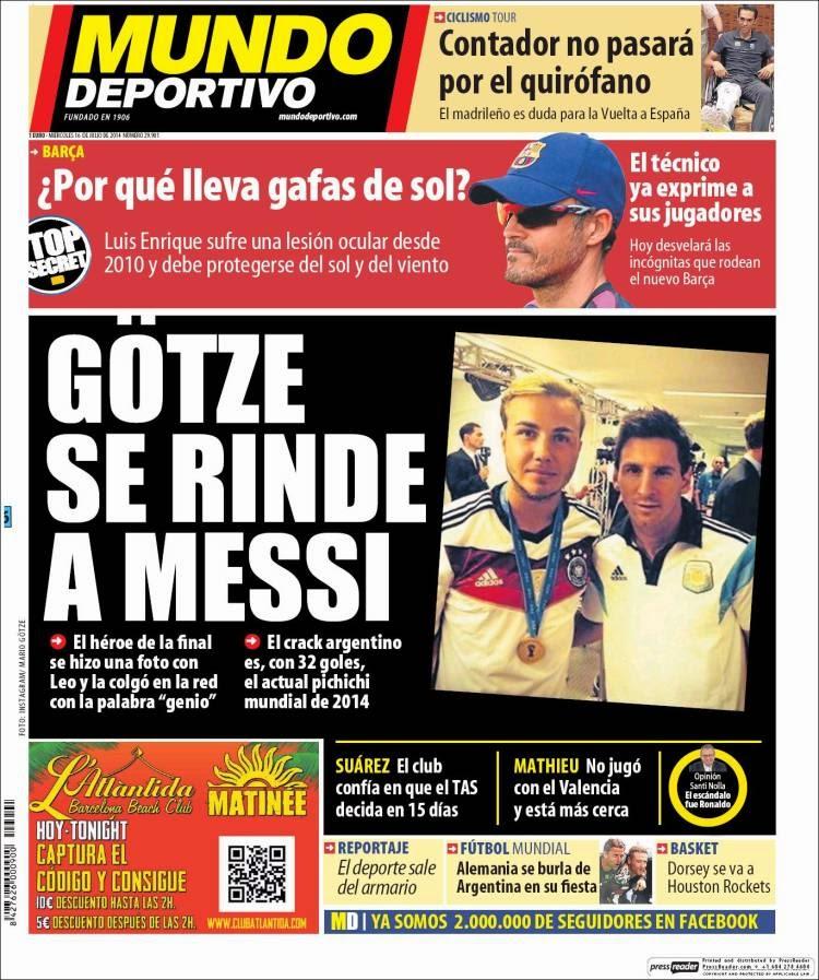 Portada Mundo Deportivo: Gotze se rinde a Messi