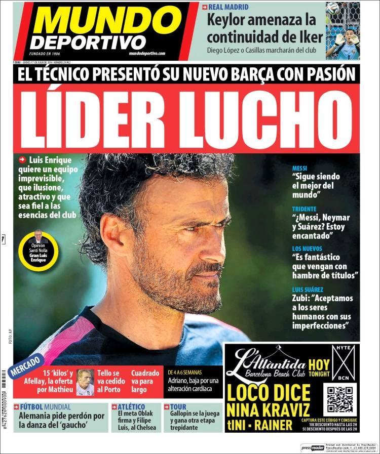 Portada Mundo Deportivo: Líder Lucho
