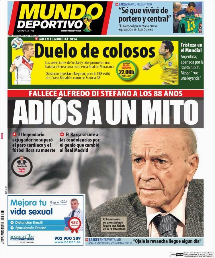 Portada Mundo Deportivo: Muere Alfredo Di Stéfano, un mito del fútbol mundial