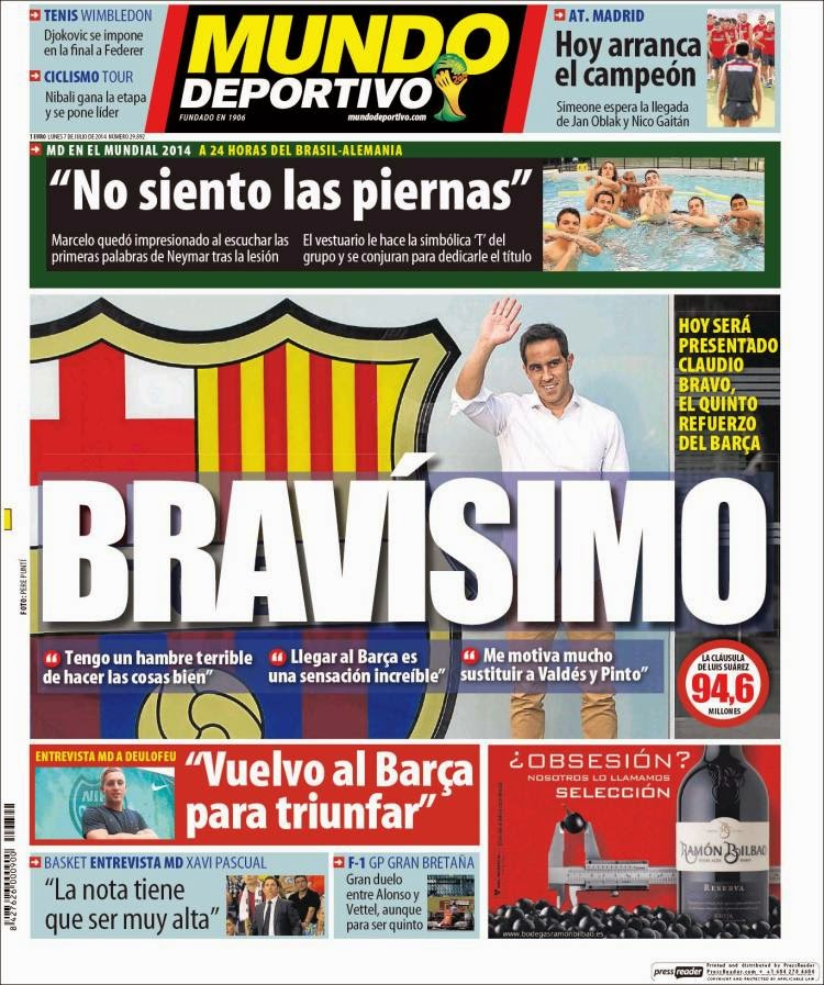 Portada Mundo Deportivo: Hoy presentan a Bravo