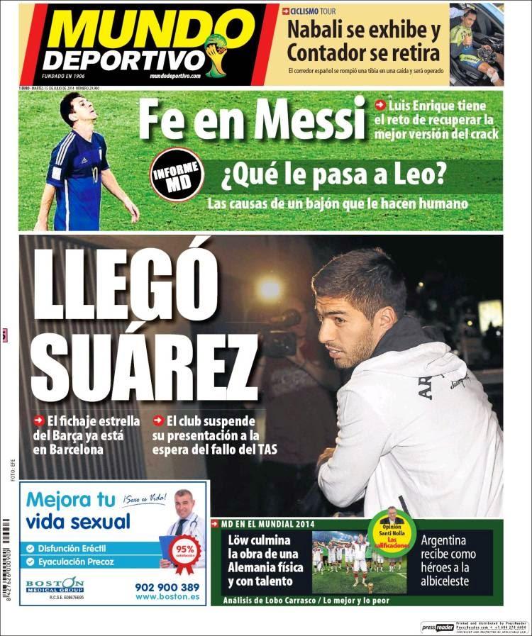Portada Mundo Deportivo: Llegó Luis Suárez, que le pasa a Messi