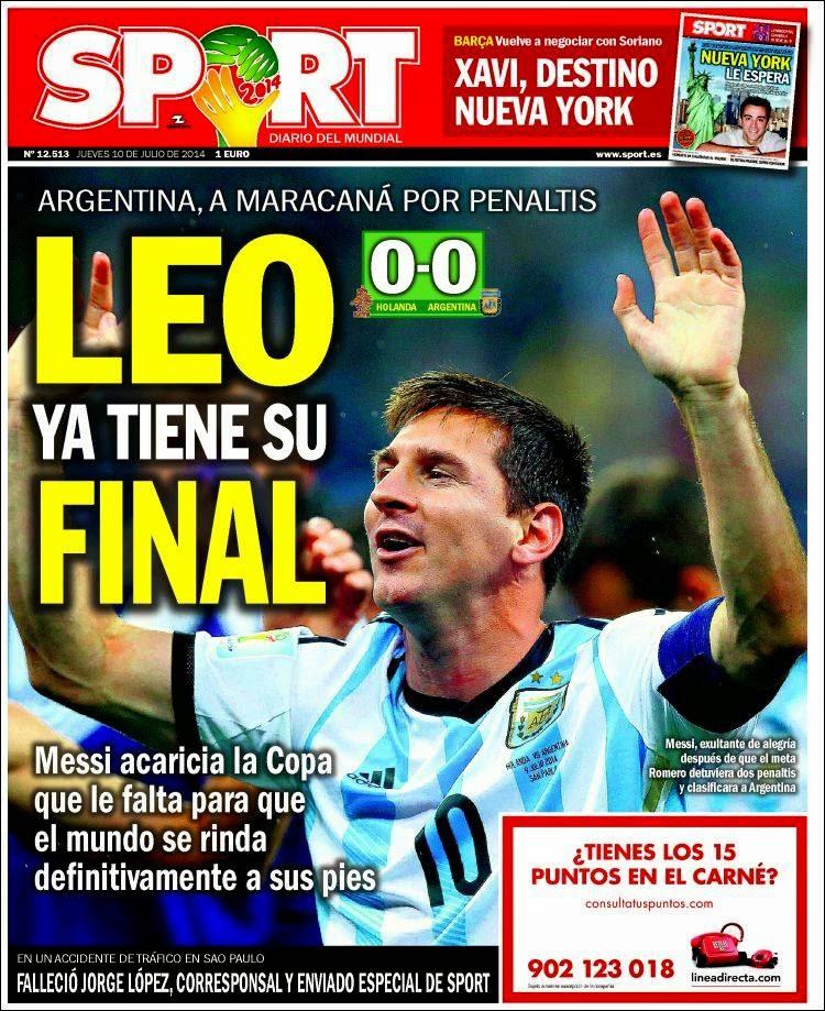 Portada Sport: Argentina finalista Mundial Brasil 2014 tras vencer a Holanda en los penales