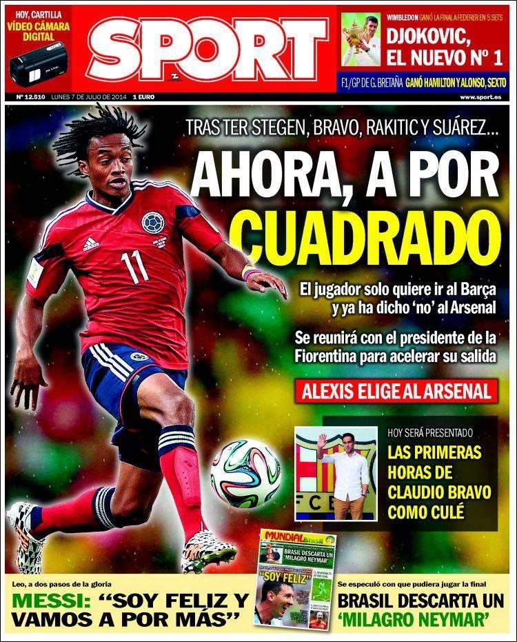 Portada Sport: el Barça quiere a Cuadrado