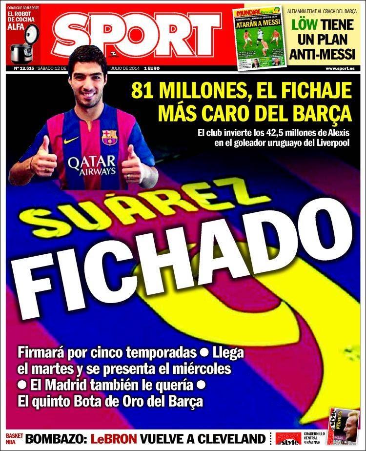 Portada Sport: Luis Suárez ficha por el F.C Barcelona