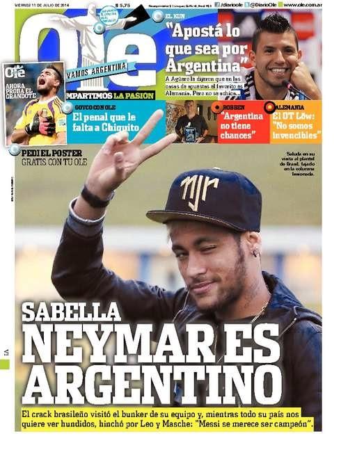 Neymar es Argentino Portada Olé