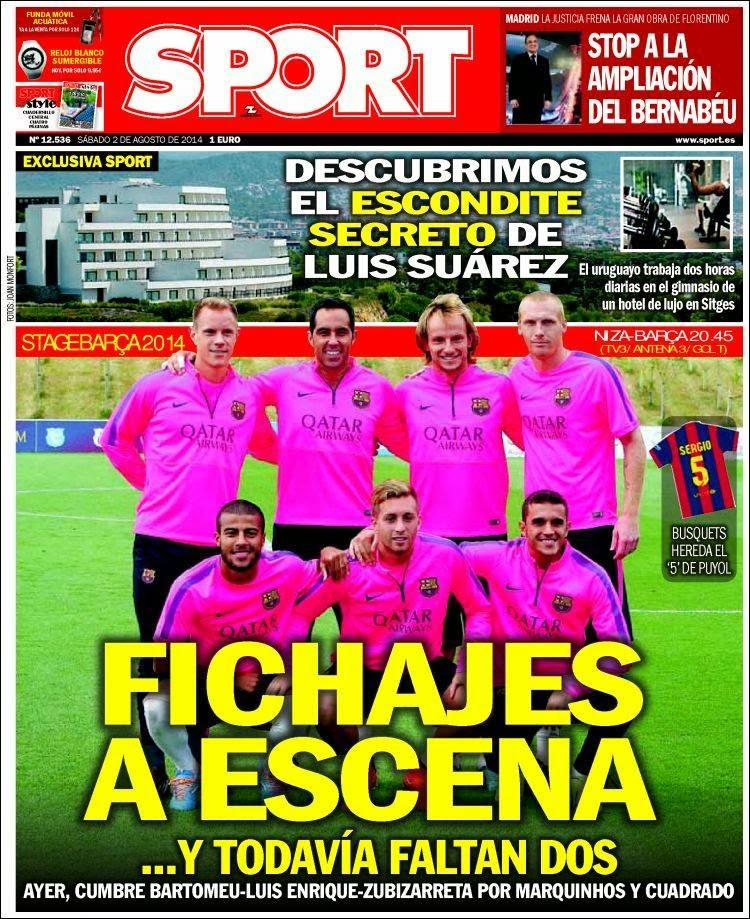 Portada Sport: Niza vs. Barcelona
