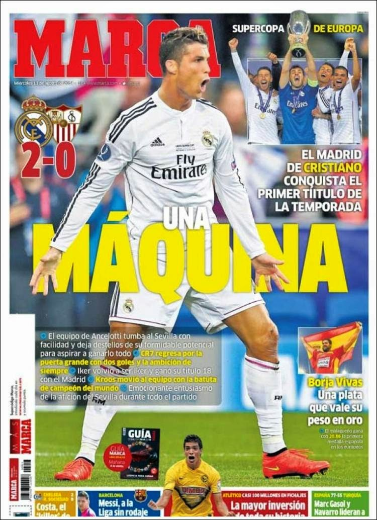 Real madrid supercampe n de europa las portadas liga for Madrid sevilla marca