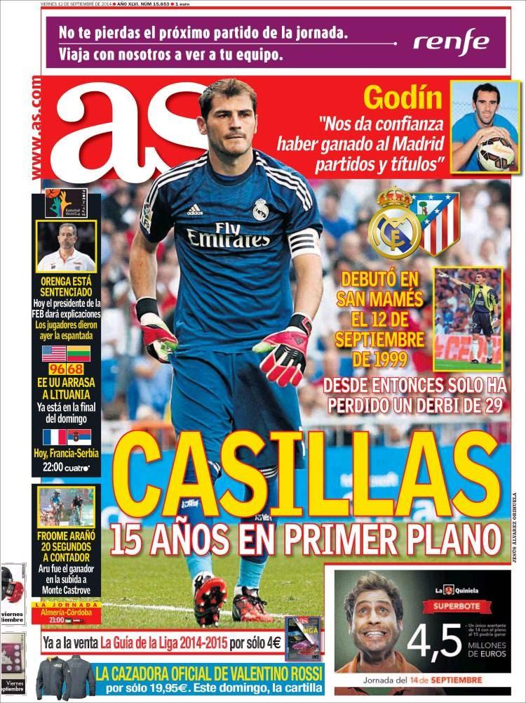 Portada AS: 15 años del debut de Iker Casilla