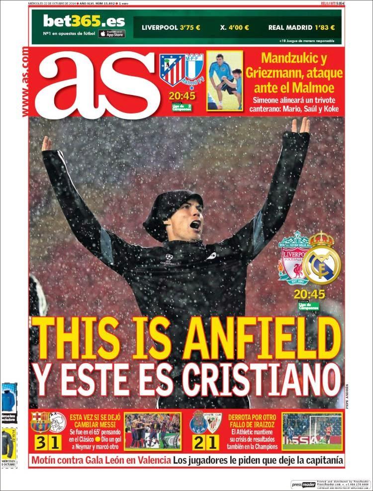 Portada AS: Liverpool vs. Real Madrid