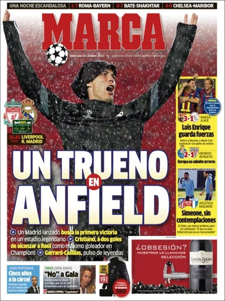 Portada Marca: Liverpool vs. Real Madrid ronaldo