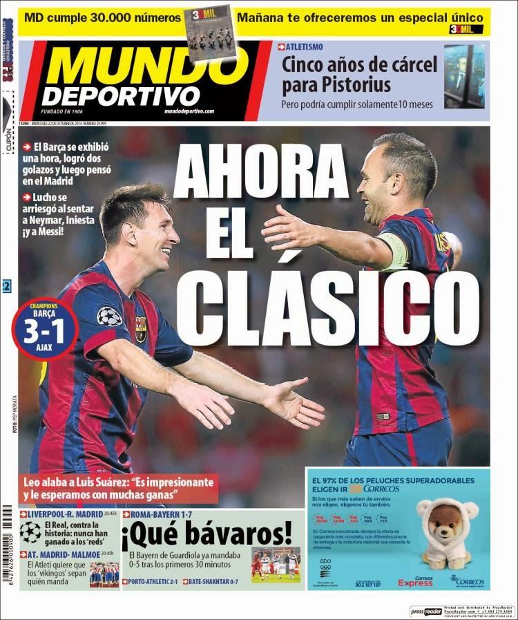 Portada Mundo Deportivo: Barcelona 3-Ajax 1 messi iniesta