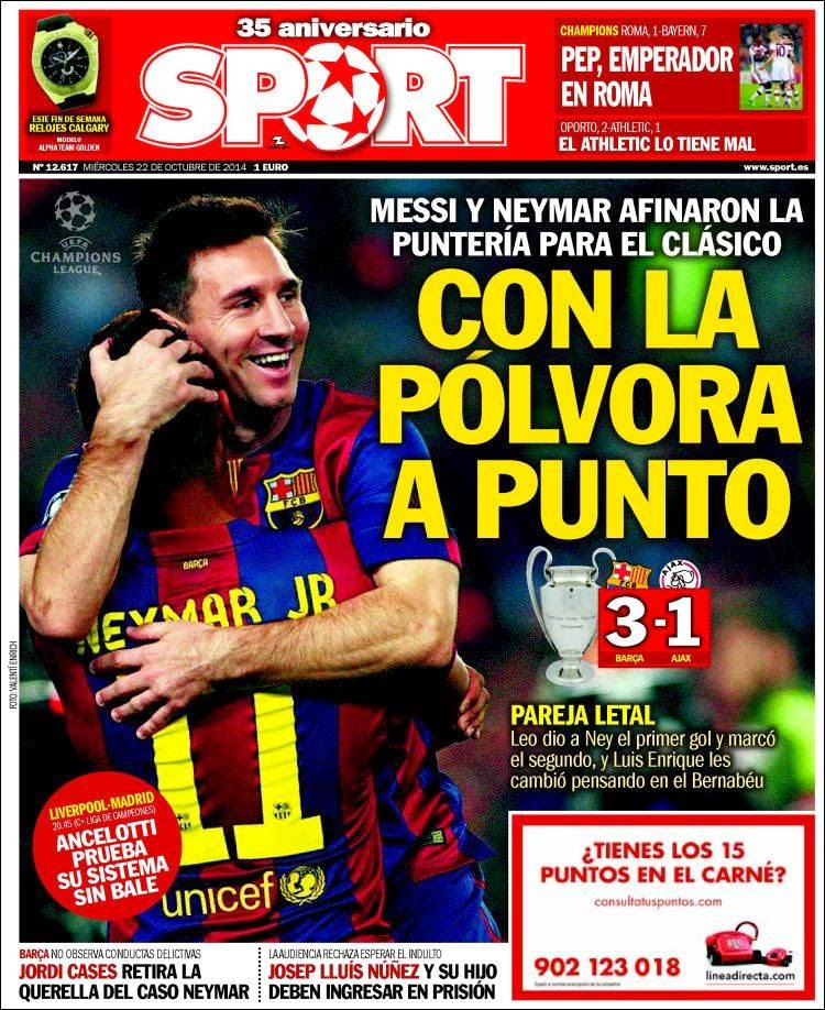 Portada Sport: Barcelona 3-Ajax 1 messi neymar