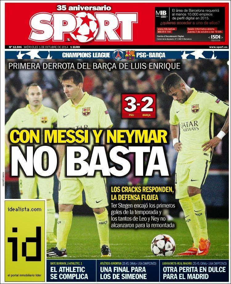 Portada Sport: El PSG vence 3-2 al Barça