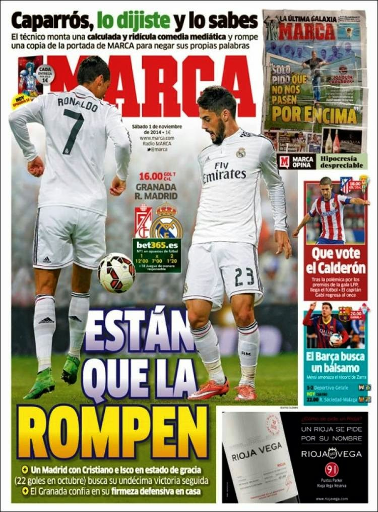Portada Marca: Granada vs. Real Madrid