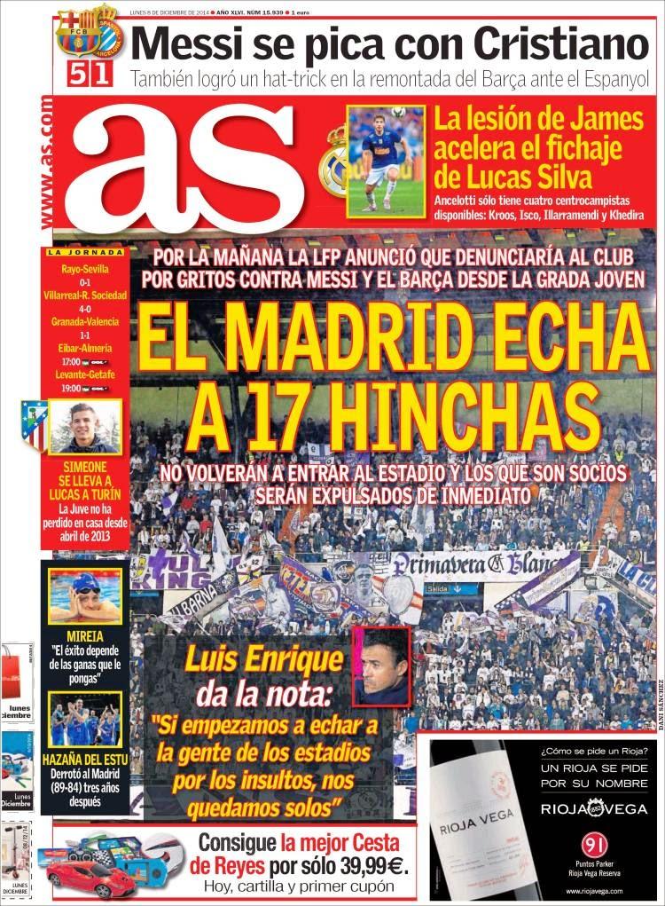 Portada As: el Madrid expulsa hinchas por insultos a messi