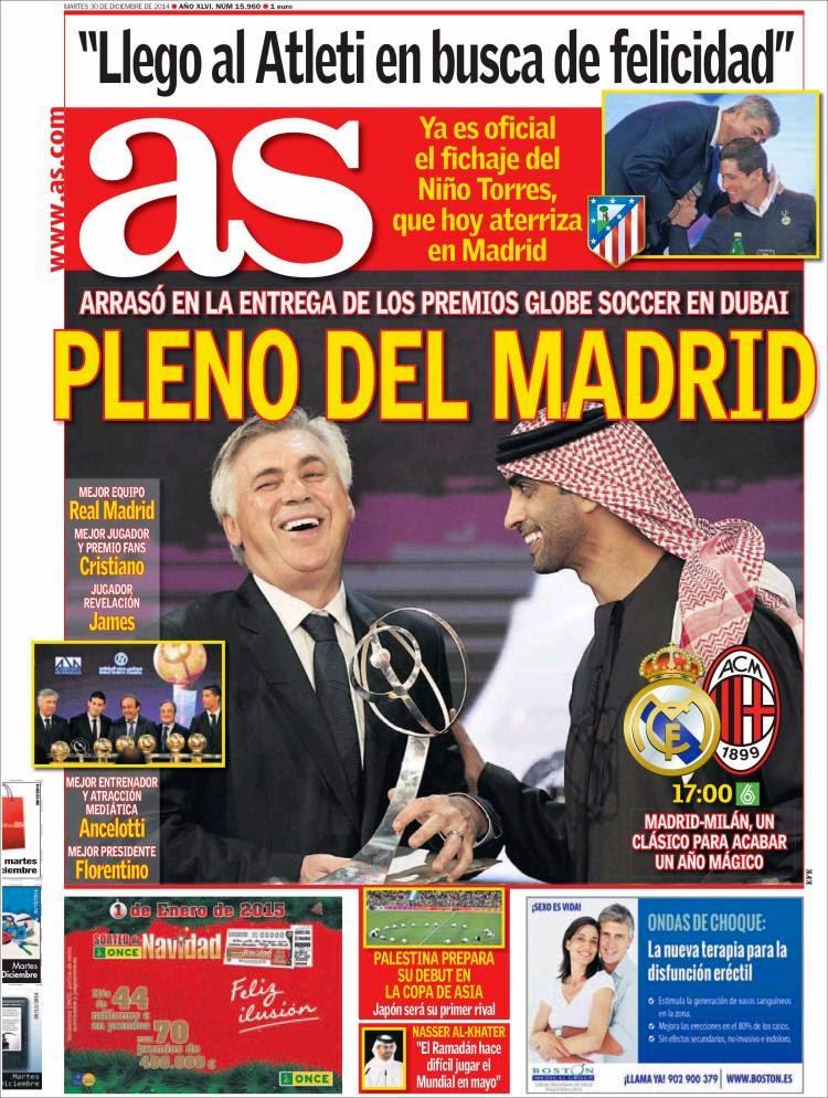 Portada AS: Pleno al Madrid