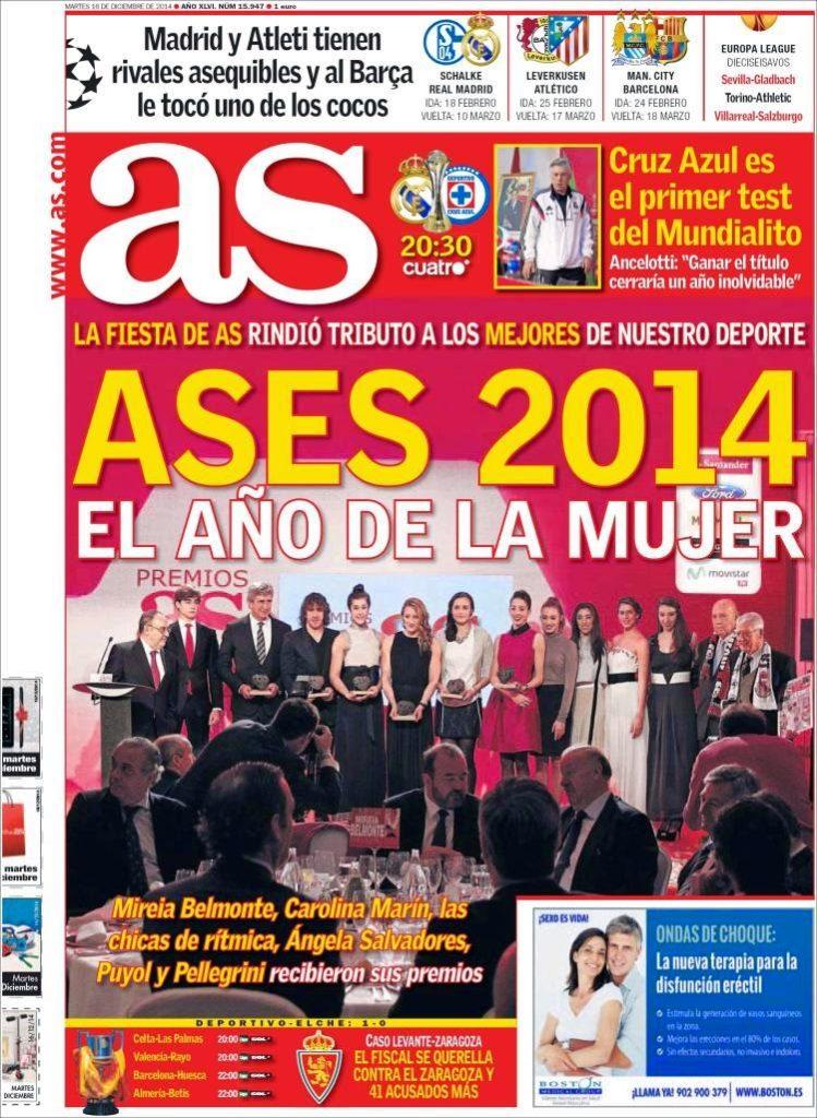Portada AS: Sorteo de octavos de Champions 2014/15