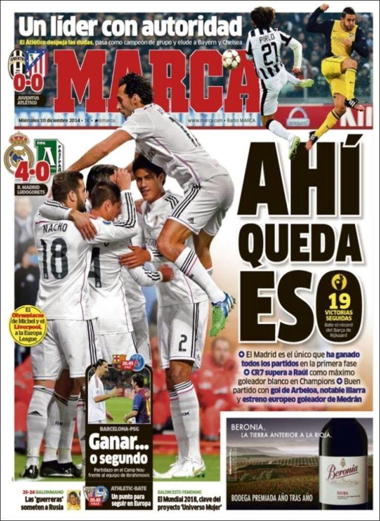 Portada Marca: Real Madrid récord 19 triunfos seguidos