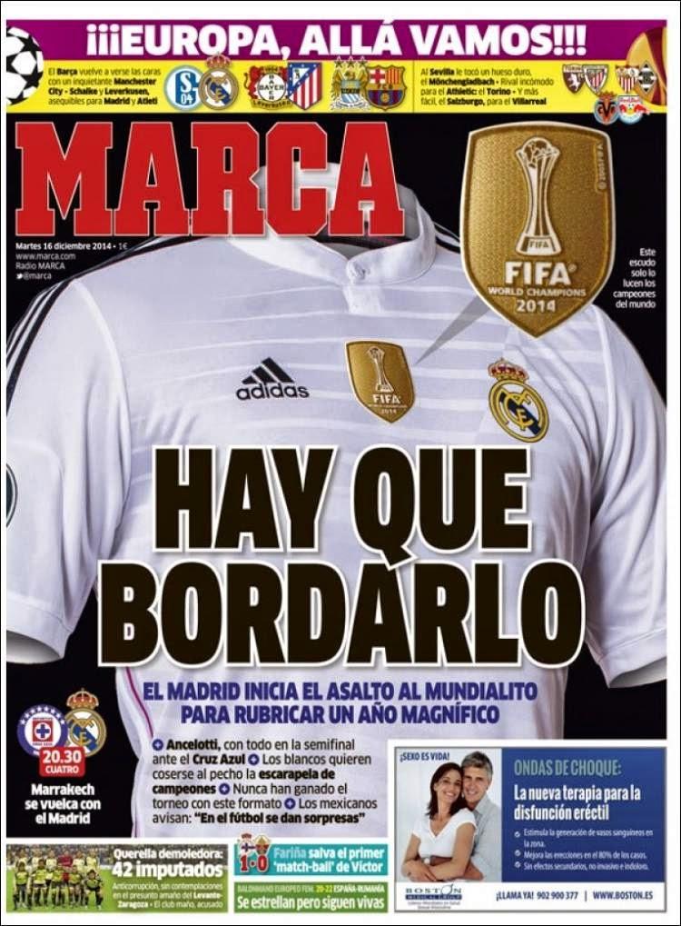 Portada Marca: Real Madrid-Cruz Azul, Mundial de Clubes 2014