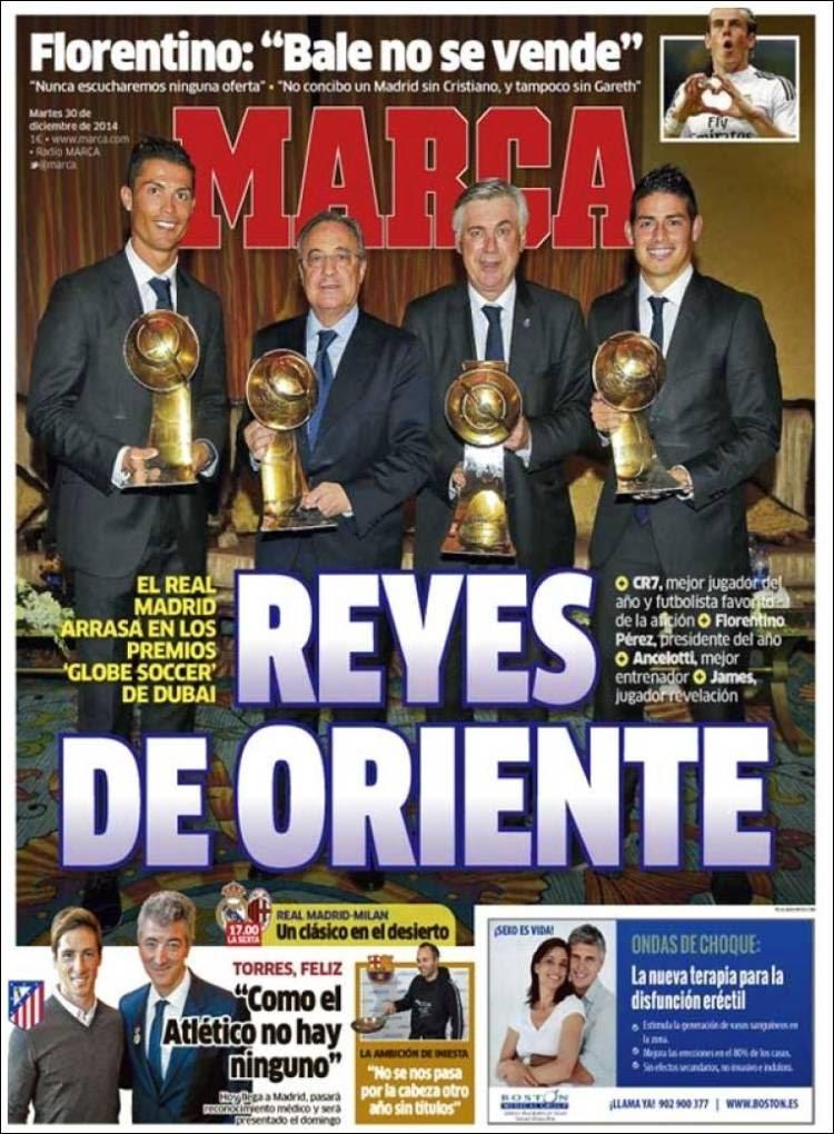Portada Marca: Reyes de Oriente real madrid premios globe soccer