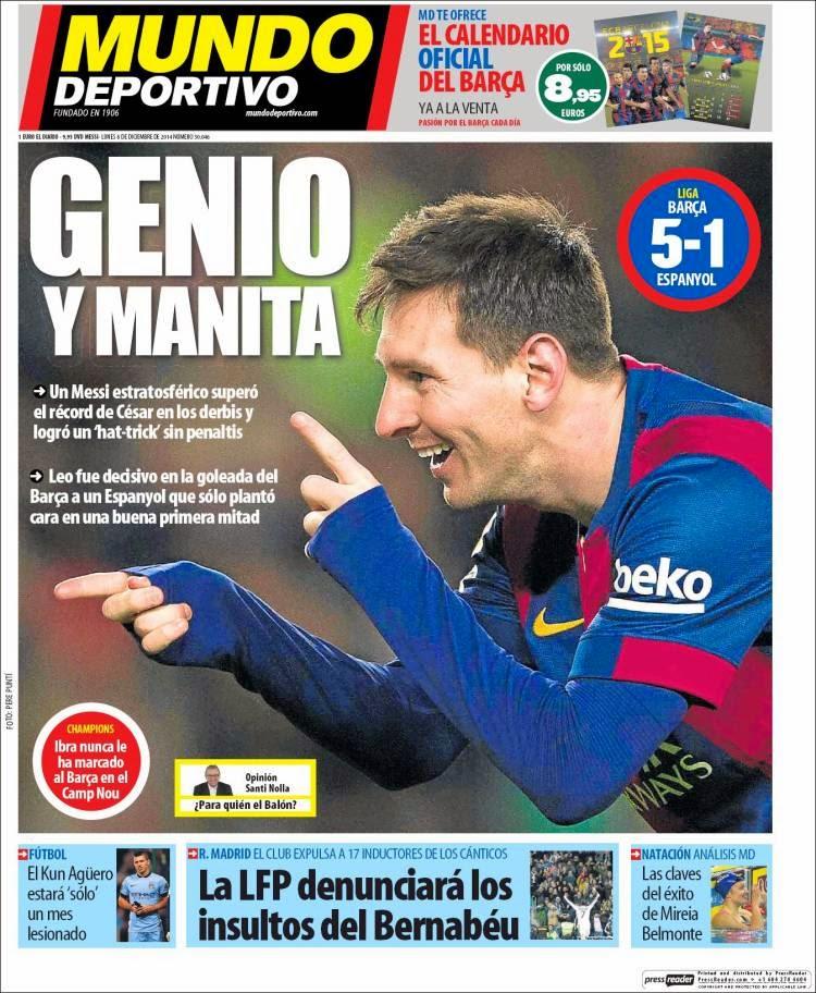 Portada Mundo Deportivo: hat-trick de Messi al Espanyol 402 goles como jugador del Barça