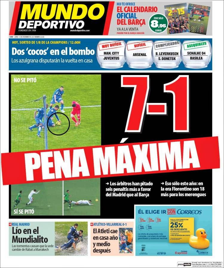 Portada Mundo Deportivo: Hoy se sortean los octavos de Champions