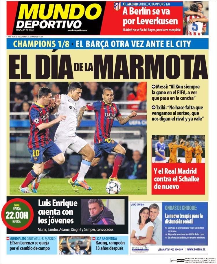 Portada Mundo Deportivo: el día de la marmota Champions sorteo